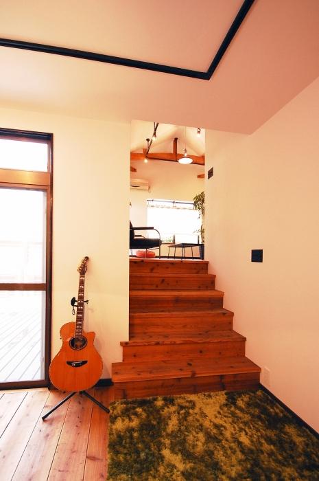 足場板で作るレトロな階段