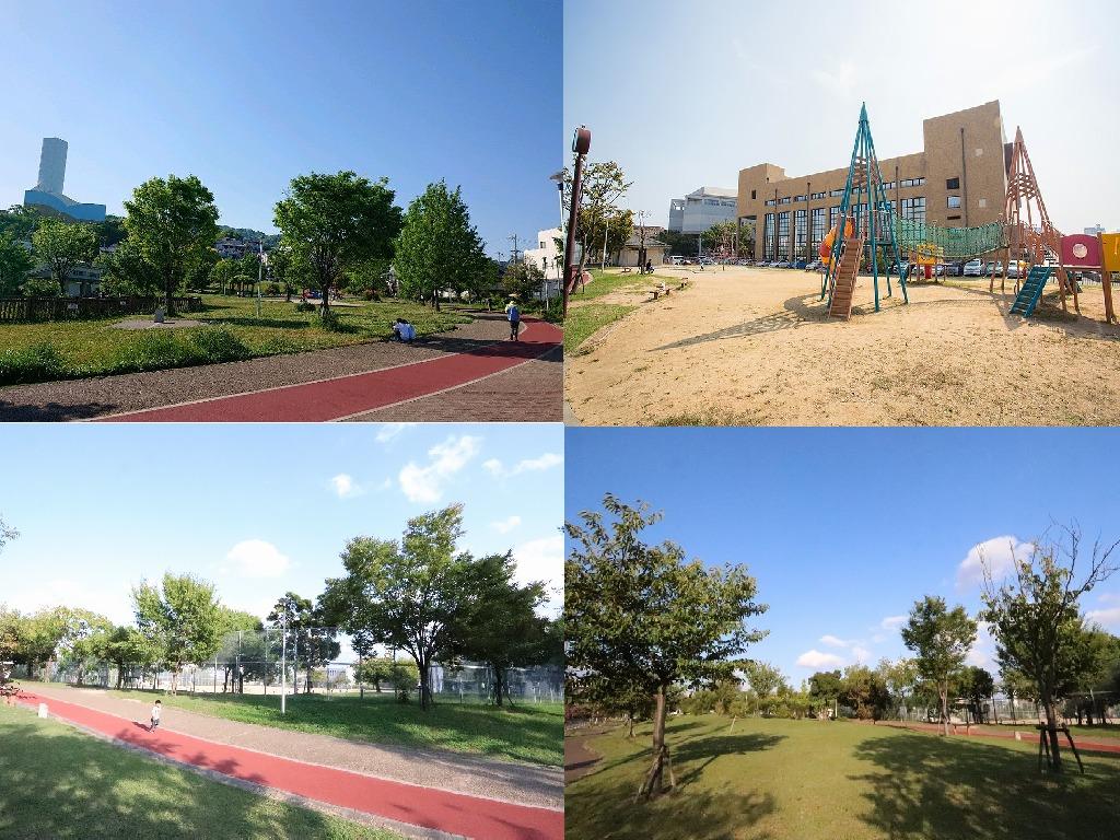 芝生や池もある「西代蓮池公園」まで徒歩5分!